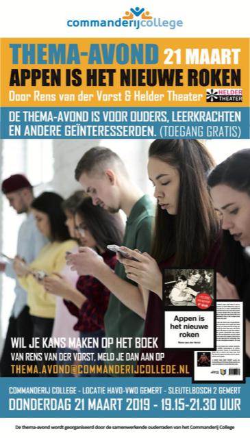 21 maart Appen is het Nieuwe Roken op het Commanderij College